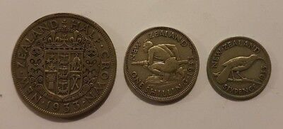 New Zealand Half Crown One Shilling Sixpence 1933 Silver Coins