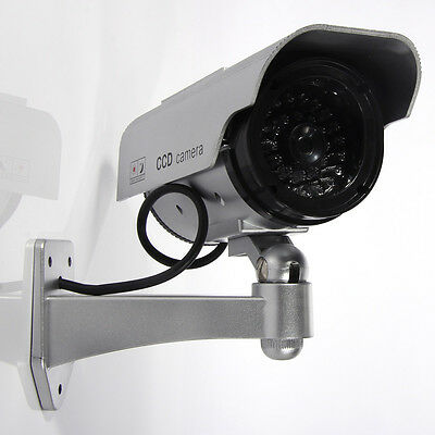 Sliver Bullet Solar Power Flashing LED Security CCTV Fake Dummy Camera