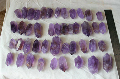 22 Natural Purple Amethyst Quartz Crystal Double Points Wands Polished Healing .
