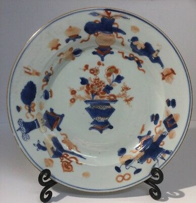 Antique Chinese Porcelain Export Plate In Imari Pattern 18Th Century Qianlong