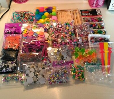 Huge selection of craft items, beads, sequins, eyes, pegs vgc