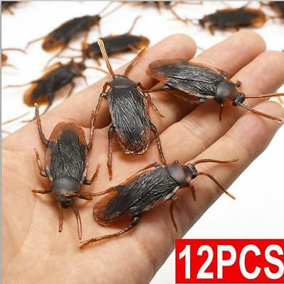 12Pcs Brown Cockroach Trick Toys Party Halloween Haunted House Prop Decor