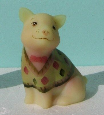 Collectable Fenton Burmese Glass Sweater Pig Figurine Limited Edition 229/250