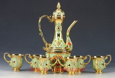 Chinese Decorated Cloisonne Handwork Carved Flower TeaPot Cup Set JTL033