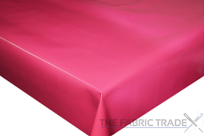 Plain Solid Hot Pink PVC Tablecloth Vinyl Oilcloth Kitchen Dining Table