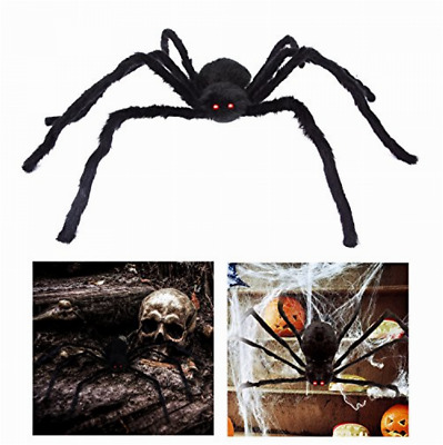 "Giant Halloween Spider 49.2"" Large Fake Spider Outdoor w Red Eyes Spooky Sound"