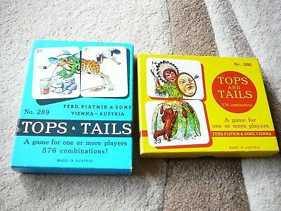 Tops and Tails Number 288 & 289 Vintage Card Games Vienna Austria Animals People
