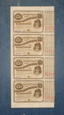 State of Louisiana Baby bonds, Act of 1880, strip of 4 bonds, red numbers.