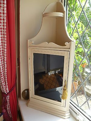 shabby chic Antique Glass front hanging corner desplay cabinet