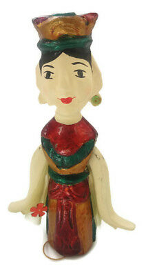 Wooden Doll Carved Handmade Decorated String Pull Mechanism Elavates Hands
