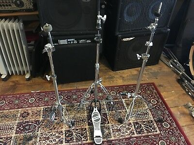 Drum hardware. Hi hat stand and 2 cymbal stands. Amped and Stagg