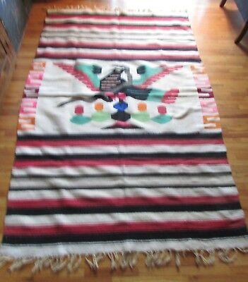 Vintage Mexico Woven Textile 48 By 78