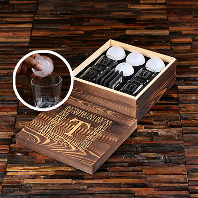 Personalised 4pc Whisky Glasses, Slate Coasters & Ice Ball Makers w/ Wooden Box