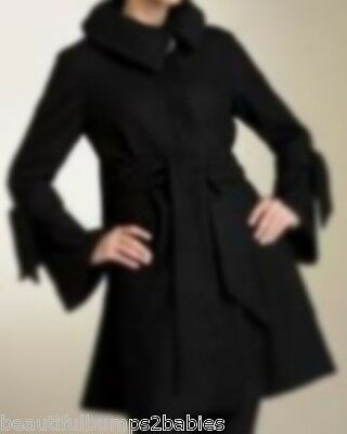 Bb's Maternity Stylish Black Belted Jacket Coat Size Xl 14-16 New
