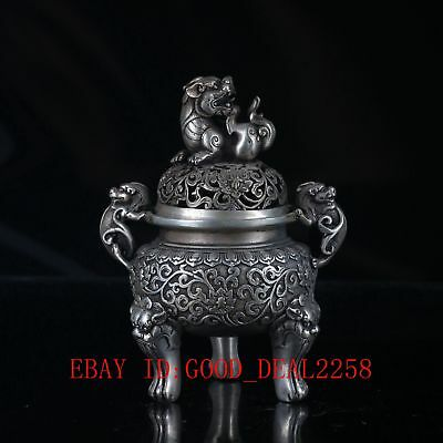 Chinese Silvering Copper Lion Incense Burner Made During The Da Ming Xuande