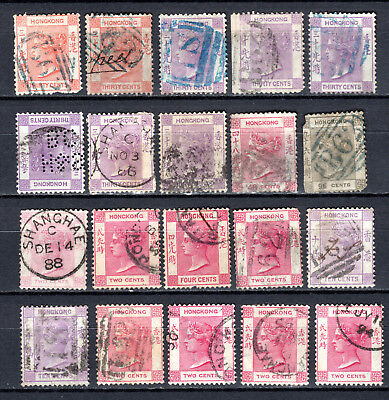 Hong Kong China 1863-1982 Qv Selection Of Used Stamps Pmk Interest