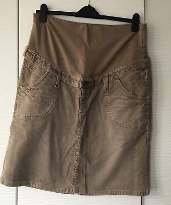 Ladies Beige Courdroy Maternity Over The Tummy Skirt from H&M Size XL (16-18)