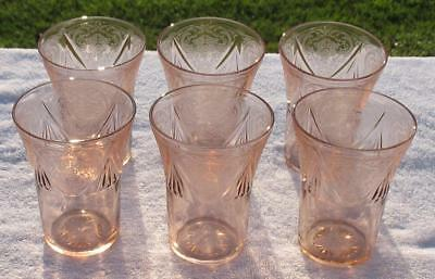 "DEPRESSION ERA PINK ELEGANT   ""ROYAL LACE""   set of (6)  FLAT TUMBLERS"