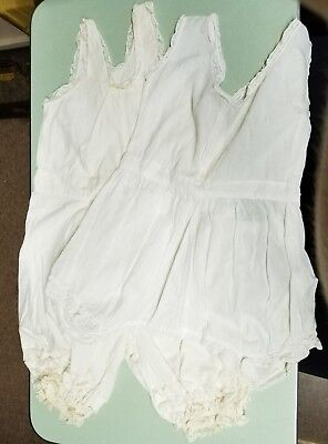 Antique Vintage Childrens Rompers - White - Lot of 2