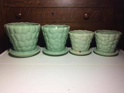 Vintage Brush McCoy turquoise Pebble planters made in the USA lot of 4