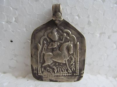 Beautiful Original Silver Pendant Of Hindu Lord Baba Ramdev On Horse Silver