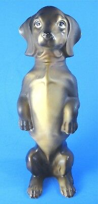 """Large Vintage Begging Dachshund Dog Figurine Standing 10"""" Tall Made in Japan"""