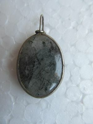 Indian Vintage Old Tribal Semi Precious Stone With Silver Amulet Pendant India
