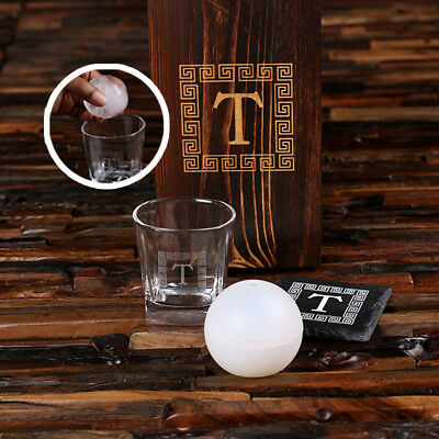 Personalised Whisky Glass, Slate Coaster & Ice Ball Maker w/ Wood Box Customised