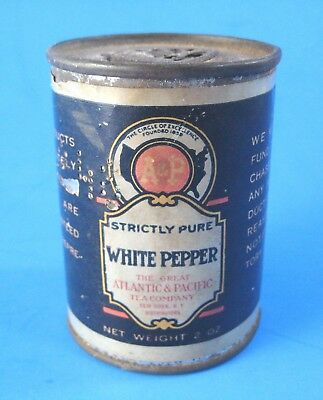 Vintage A&P White Pepper Spice Tin Round with Paper Label Strictly Pure