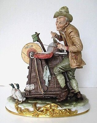 "COMPODIMONTE THE KNIFE GRINDER FIGURE Man Honing Sharpening Knives ~ 13"" ~ ITALY"