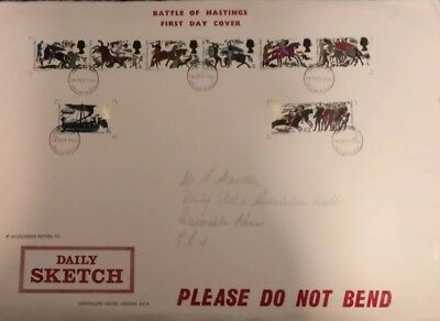 1966 Battle of Hastings Large Daily Sketch First Day Cover 900th aniv 14 10 1966