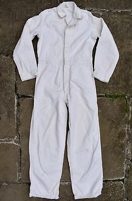VTG 40s 50s POOLS SANFORIZED WHITE DENIM COVERALLS WORKWEAR COSTUME KIDS M/L