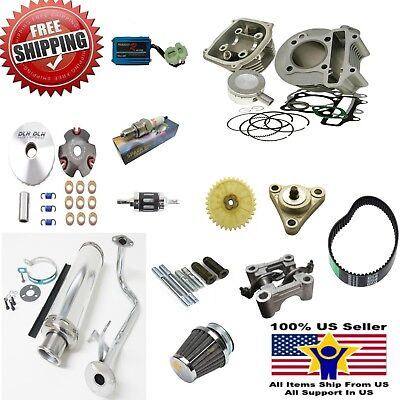 80cc Big Bore Kit Performance Power Pack Chrome Exhaust 139QMB Chinese Scooter