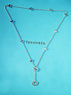 TIFFANY & Co Argent Sterling Coeur Lien LARIAT COLLIER
