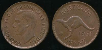 Australia, 1951(m) One Penny, 1d, George VI - Uncirculated