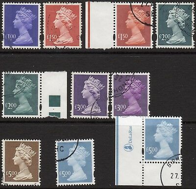 (676) 10 Different Very Good Used Qeii Machins £1.00 - £5.00
