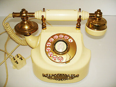 VINTAGE FRENCH ART NOUVEAU BRASS & IVORY DESK PHONE TELEPHONE 1970's