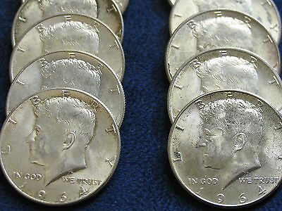 One (1) Roll of 1964 Kennedy Half Dollars- 20 coins/$10-circulated