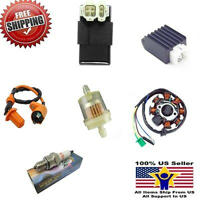 GY6 50-150cc Ignition Coil Plug DC Stator Solenoid Performance CDI Complete NEW