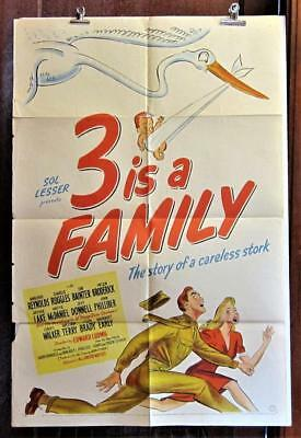 1944 THREE IS A FAMILY Stone Lithograph 1-Sheet Movie Poster STORK BABY SOLDIER