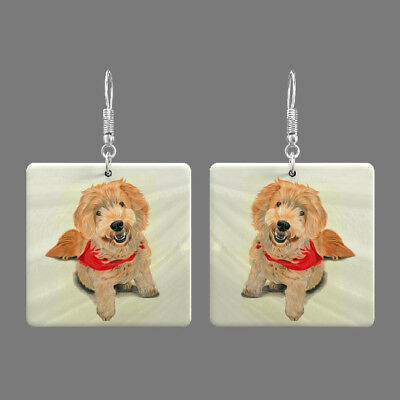 Natural Mother of Pearl Shell Dog Earrings Square Drop Jewelry S1706 0015