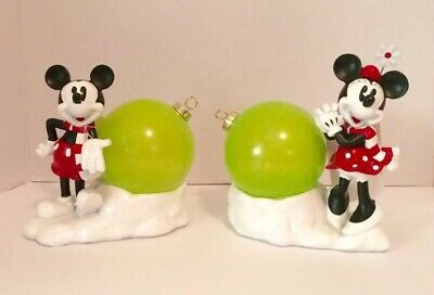 Disney Mickey Mouse and Minnie Mouse Holiday with Light Ornament (set of 2)