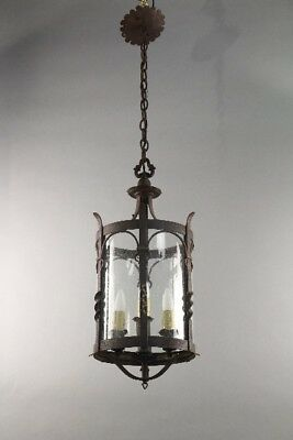 Antique Wrought Iron Large 1920's Spanish Revival Pendant W Three Lights (10720)