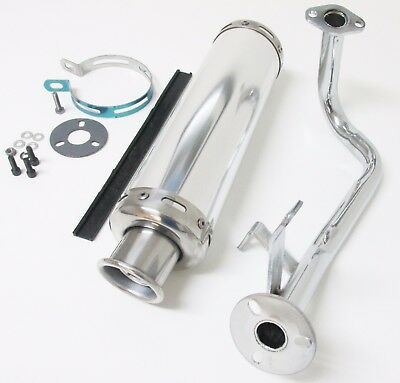 Performance Exhaust Muffler System Assembly for GY6 50cc Scooter -Chrome