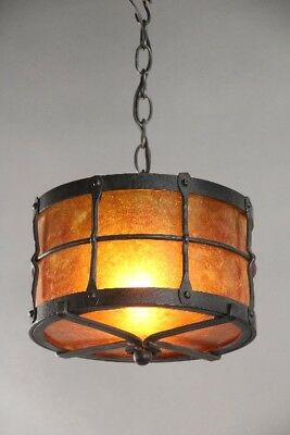 Custom Spanish Revival Wrought Iron and Mica Drum Light Fixture (10717)