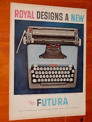 Neat 1958 Royal Futura Typewriter Vintage Ad + Minnesota Woolen Clothing On Back
