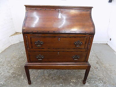bureau,office,desk,drawers,writing,wood legs,spade,antique,mahogany,curved front