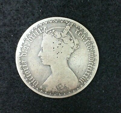 1873 Great Britain Gothic One Florin / Two Shillings Silver Coin Queen Victoria