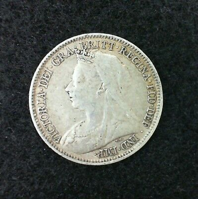 1898 Great Britain Six Pence   Silver Coin Queen Victoria