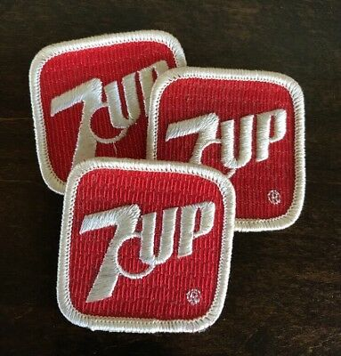 3 Vintage 7-UP Embroidered Patches Employee Uniform Red White Soda Drink